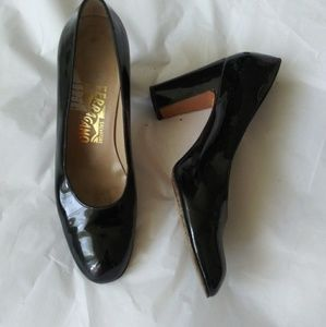 Salvatore Ferragamo Black Patten Leather Pumps 7